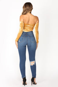 Time Slows Down Velvet Bodysuit - Gold Angle 6