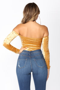 Time Slows Down Velvet Bodysuit - Gold Angle 3