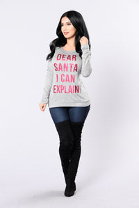 Dear Santa Holiday Sweater - Grey