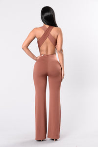 The Diva Jumpsuit - Red/Brown