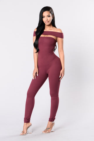 Jump Off The Deep End Jumpsuit - Berry