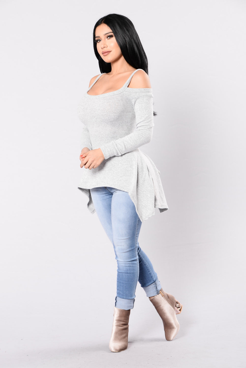 Step Down Top - Heather Grey