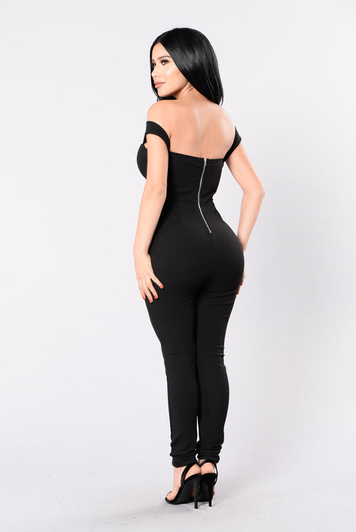 Never Forget Me Jumpsuit - Black