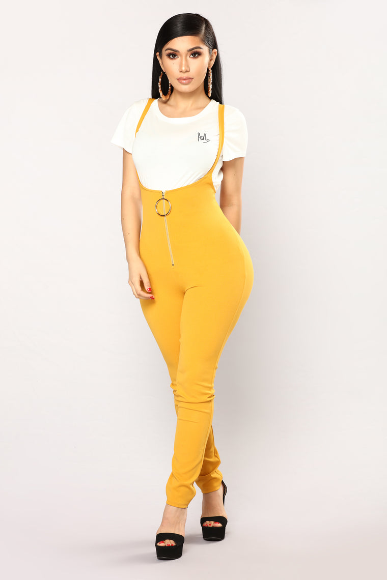 Tell Me You Love Me Jumpsuit - Mustard
