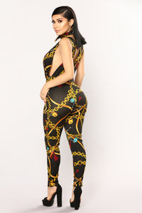 Pop, Lock And Drop It Jumpsuit - Black/Gold