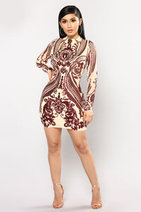 You Need Me Sequin Dress - Nude/Burgundy