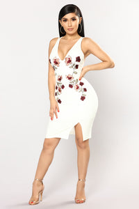 Florence Flowers Embroidered Dress - Ivory