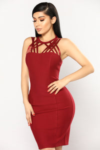 Love Lockdown Strappy Dress - Burgundy