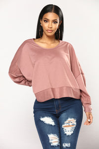 Glora Open Back Sweatshirt - Marsala