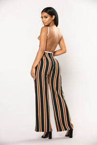 Hold You Tight Stripe Pants - Brown Multi