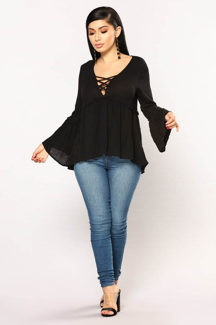 Makenna Baby Doll Top - Black