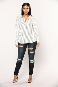 Take Me Serious Striped Top - Black/White Angle 2
