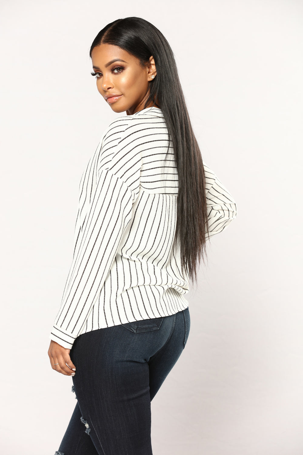Take Me Serious Striped Top - Black/White