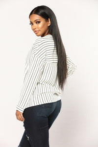 Take Me Serious Striped Top - Black/White Angle 3