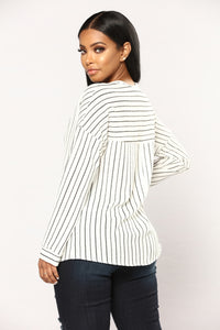 Take Me Serious Striped Top - Black/White Angle 4