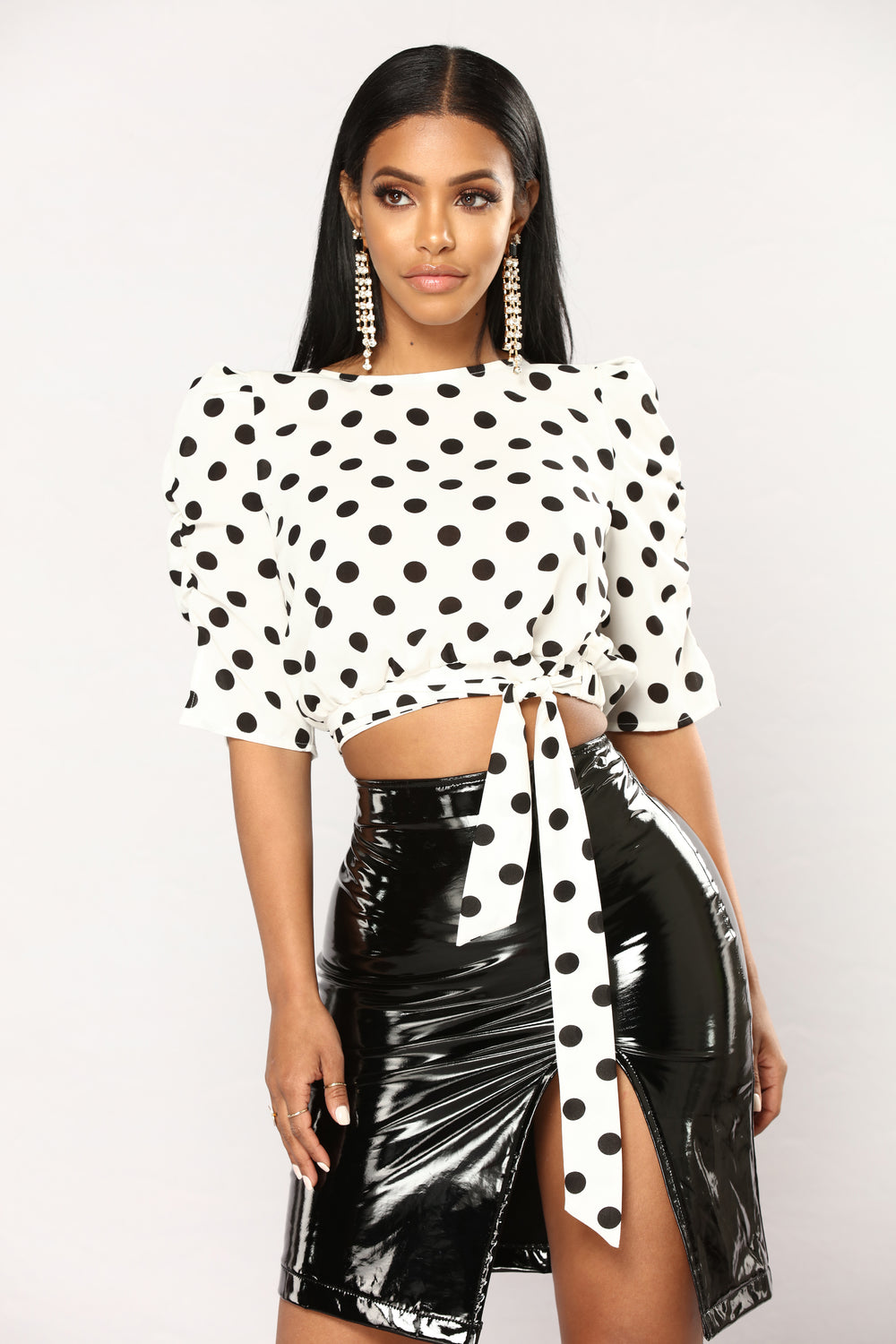 De Vil Polka Dot Top - White/Black