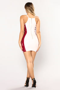 Breaking The Rules Latex Dress - Light Pink/Berry
