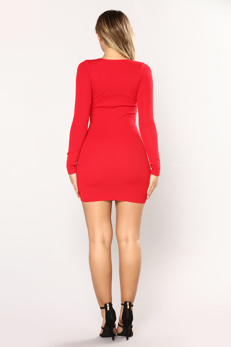 Lace Up Turn Down Midi Dress - Red