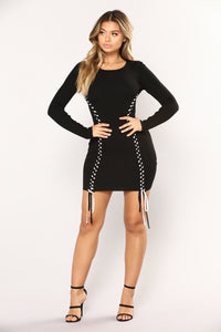 Lace Up Turn Down Midi Dress - Black