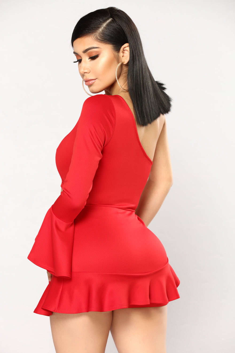 Time And Place One Shoulder Romper - Red