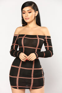 Square Off Shoulder Dress - Black