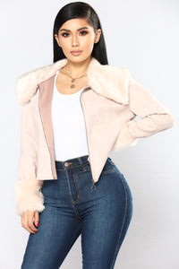 High Class Faux Suede Jacket - Blush