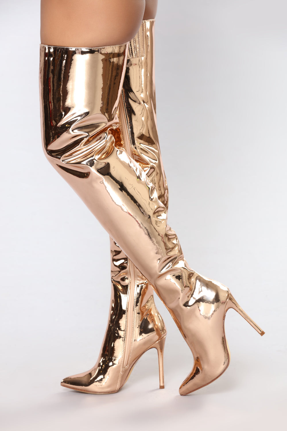 Like A Rockstar Over The Knee Boot Rose Gold