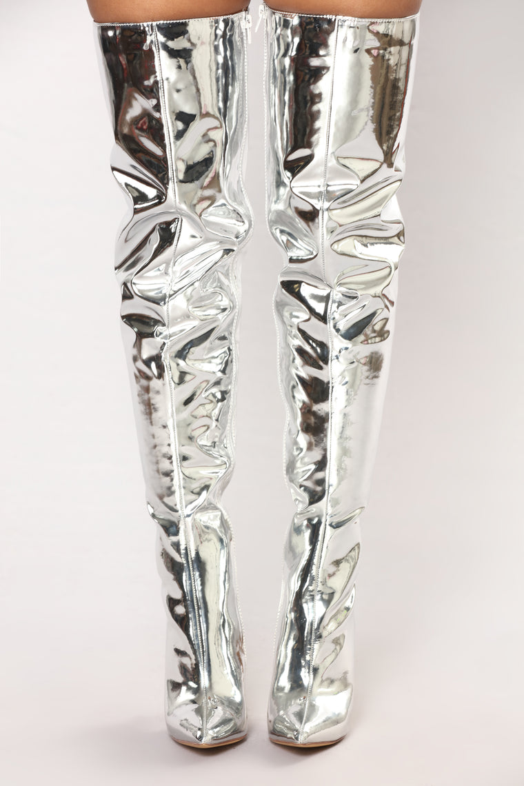 Like A Rockstar Over The Knee Boot - Silver