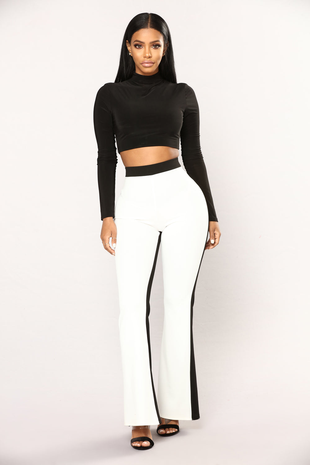 Half And Half Pants - Black/White