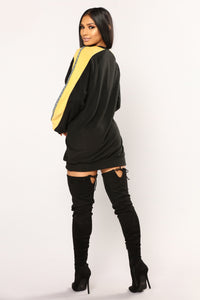 Hustle Oversized Top - Black Combo