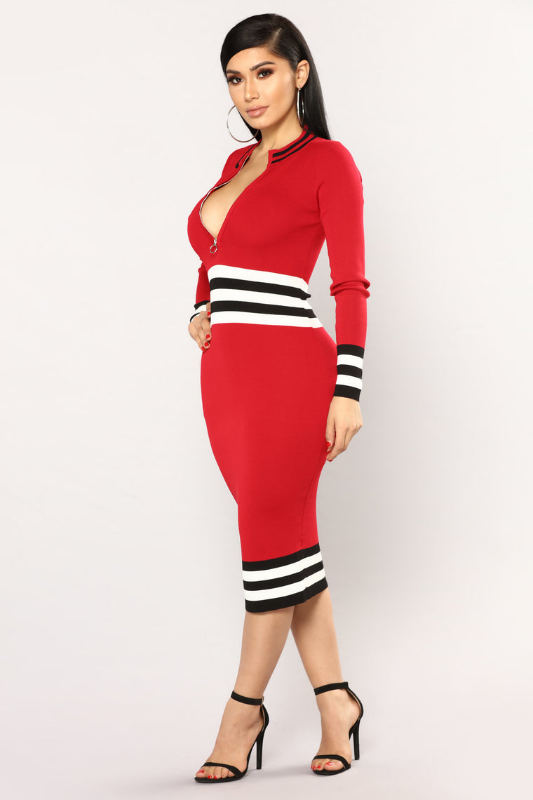 Angeline Striped Midi Dress - Red