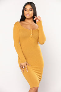Puppy Playdate Ribbed Dress - Mustard
