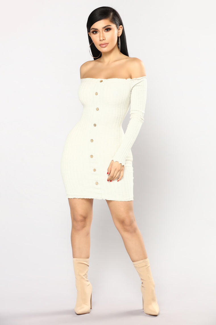 Jacklyn Off Shoulder Mini Dress - Oatmeal
