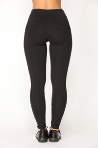 Meghan Moto Active Leggings - Black