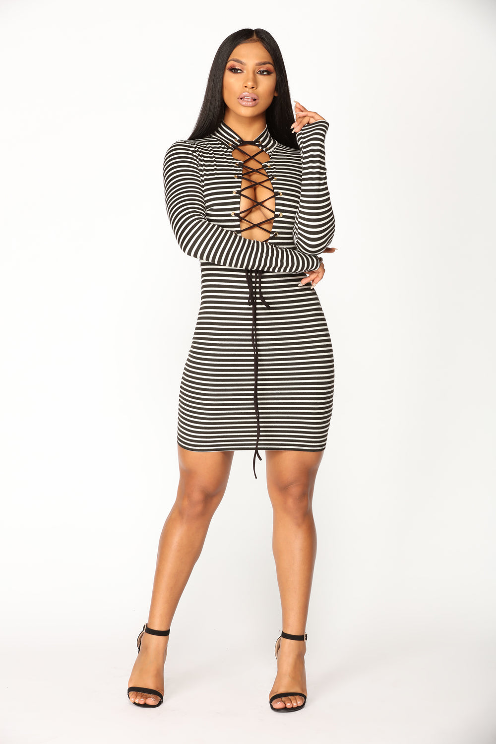 Cade Striped Mini Dress - Black/White