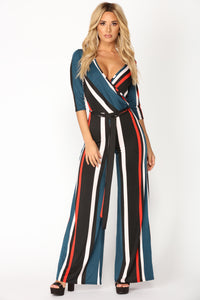 Brunch At Tiffany's Jumpsuit - Navy/Multi