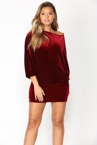 Val Mini Dress - Burgundy Angle 2