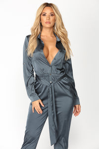Work Hard Play Hard Satin Jumpsuit - Navy
