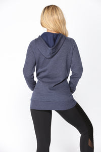 Classic Hoodie Tunic Top - Navy