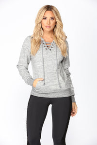 Love Laced Lounge Hoodie - Heather Grey
