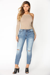 Speculate Cold Shoulder Top - Taupe Angle 3