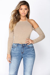 Speculate Cold Shoulder Top - Taupe Angle 2