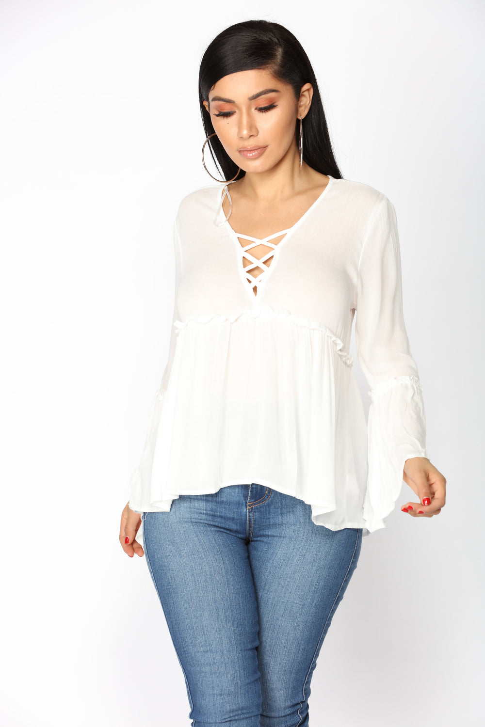Makenna Baby Doll Top - Off White