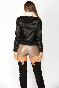 Night Rider Faux Leather Jacket - Black/Cream