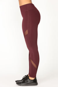 Go For A Jog Active Leggings - Burgundy