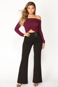 Delfina Off Shoulder Top - Plum