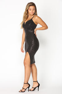 Like A Diamond Sequin Dress - Black