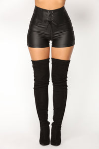 Libby Lace Up Shorts - Black