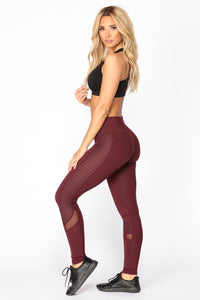 Meghan Moto Active Leggings - Burgundy