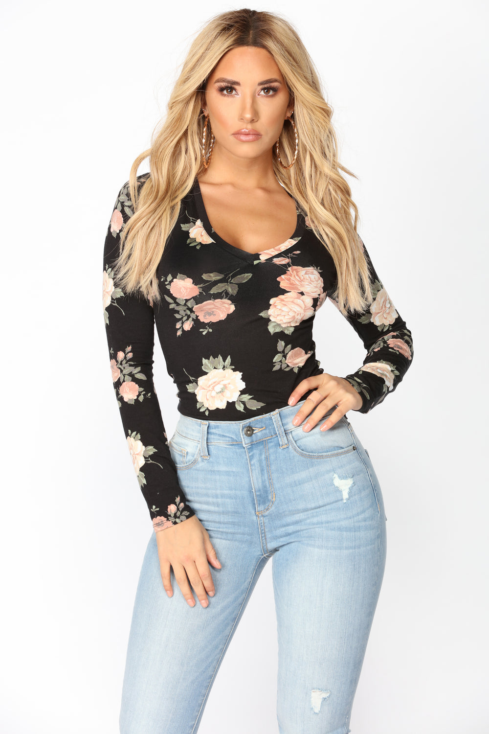 Do It My Way Floral Top - Black